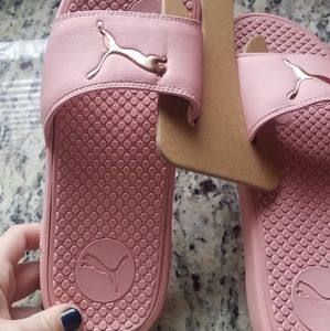 Puma Shoes - **SALE** NEW PUMA SLIDES WITH ROSE GOLD ACCENTS